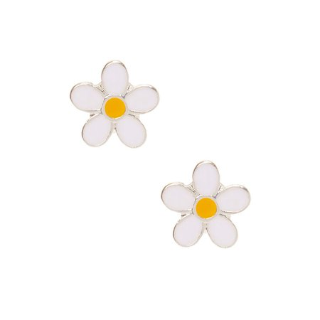 Daisy Stud Earrings - White | Claire's US