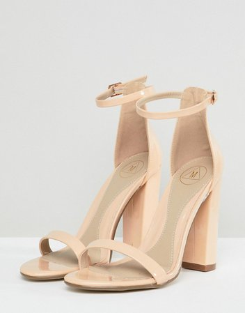 Missguided block heeled barely there sandal in nude | ASOS