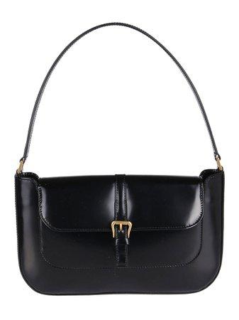 Black Leather Miranda Shoulder Bag
