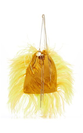 Calla Feather Accented Fabric Bag