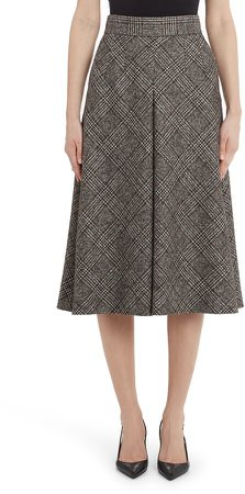 Inverted Pleat Plaid Wool Blend A-Line Skirt
