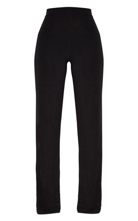 Petite Black Slinky Wide Leg Pants | PrettyLittleThing USA