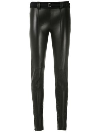 Shop black Gloria Coelho belted leggings with Express Delivery - Farfetch