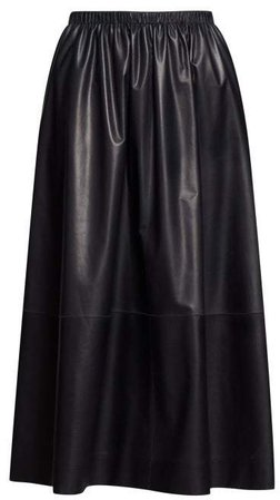 Tilia Leather Midi Skirt - Womens - Navy