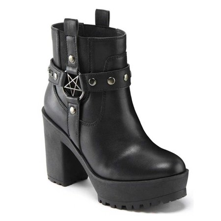 Killstar Winona Western Cowboy Ankle Boots With Pentagram Detail Black - Rock Metal Gothic Occult