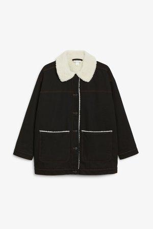 Faux shearling denim jacket - Black magic - Coats & Jackets - Monki WW