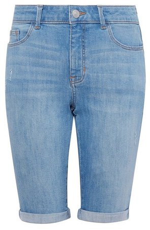 **DP Tall Blue Lightwash Denim Knee Shorts