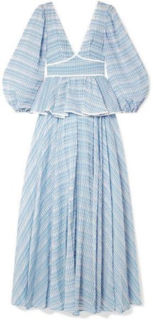 Panarea Checked Organza Maxi Dress - Sky blue