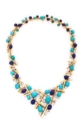 Simon Teakle Turquoise And Lapis Bib Necklace