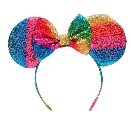 Amazon.com: QSFZ Mouse Ears Headband,Rainbow Mouse Ears,Sequin Minnie Mouse Ears,Headband for Girls Kids Adults Birthday Costume Party (Rainbow): Clothing