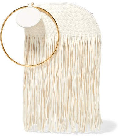 Eartha Fringed Woven Leather Clutch - Ivory