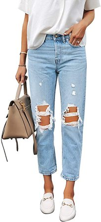 luvamia Women's Casual Ripped Jeans Elastic Waist Slim Boyfriend Jeans Denim Pants at Amazon Women's Jeans store