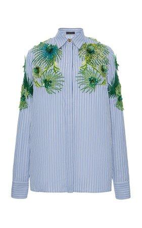 Collared Embroidered Cotton Top By Versace   Moda Operandi