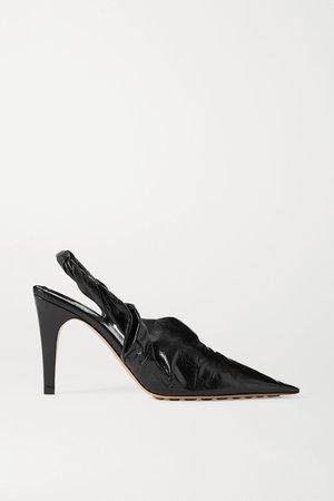 Black Crinkled glossed-leather slingback pumps | Bottega Veneta | NET-A-PORTER