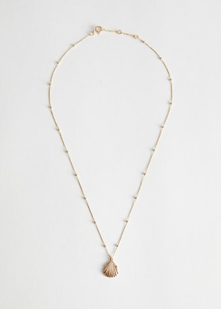 Shell Pendant Dotted Chain Necklace - Gold - Necklaces - & Other Stories