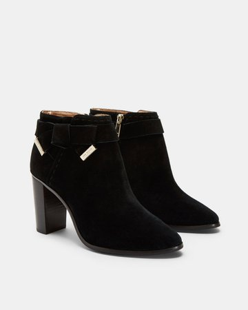 Bow detail suede ankle boots - Black | Accessories | Ted Baker UK