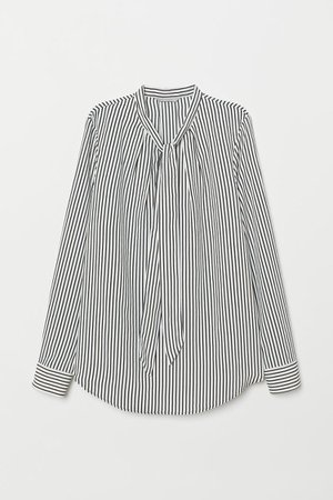 Blouse with Tie Collar - White/black striped - Ladies | H&M