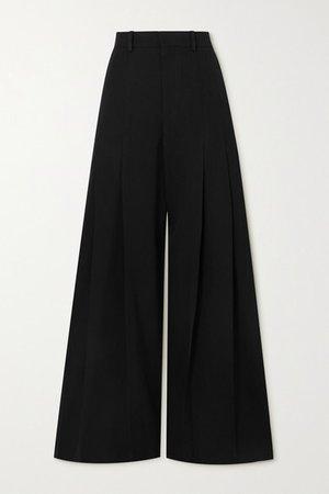 Pleated Wool Wide-leg Pants - Black