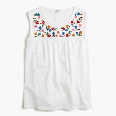 Embroidered-yoke cotton tee
