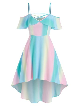 [32% OFF] 2021 Cold Shoulder Rainbow High Low Dress In Multicolor | DressLily