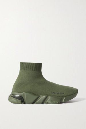 Speed Lt Logo-print Stretch-knit High-top Sneakers - Green