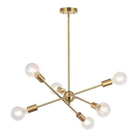 HDLERUI Modern Sputnik Chandelier Lighting 6 Lights Brushed Brass Chandelier Mid Century Pendant Lighting Gold Ceiling Light Fixture for Hallway Bar Kitchen Dining Room - - Amazon.com