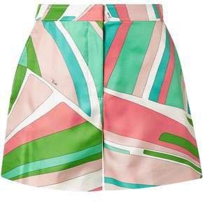 Printed Duchesse Silk-satin Shorts