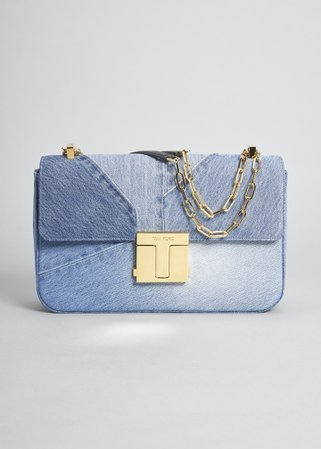 TOM FORD Denim T-Clasp Shoulder Bag - Bergdorf Goodman
