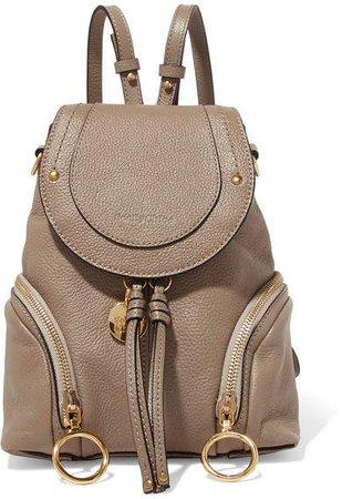 Olga Small Textured-leather Backpack - Mushroom