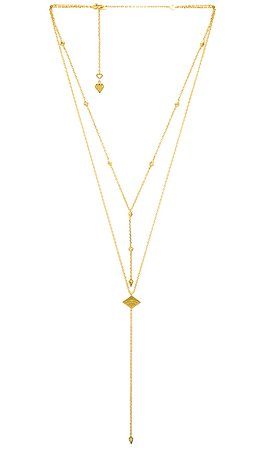 Wanderlust + Co Arya Lariat Necklace in Gold | REVOLVE
