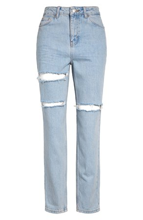 Topshop Sofia Ripped High Waist Ankle Mom Jeans (Bleach) | Nordstrom