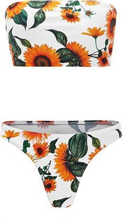 Amazon.com: SweatyRocks Women's Sexy Bikini Set High Waist Wrap Padding Bandeau Bathing Swimwear Suit: Clothing