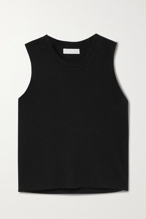Angie Cropped Ribbed Cashmere Tank - Black