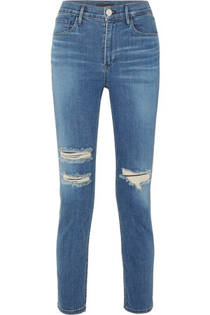 3x1 | W4 Colette cropped distressed high-rise slim-leg jeans | NET-A-PORTER.COM