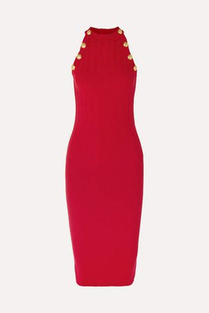 Ribbed Wool-blend Midi Dress - Red