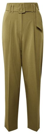 Green Belted Tapered Trousers