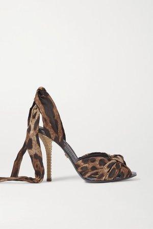 Leopard-print Twill Sandals - Leopard print