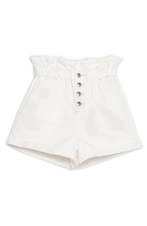 Topshop Paperbag Denim Shorts white