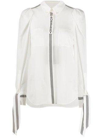 Burberry logo-print tie-cuff Silk Shirt - Farfetch