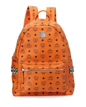 MCM Stark Side Stud Medium Backpack, Orange | Neiman Marcus