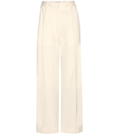 Cropped wide-leg wool trousers