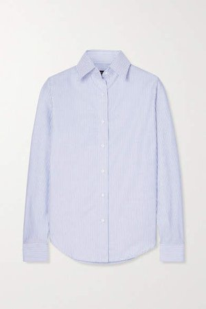 Striped Cotton Oxford Shirt - Navy