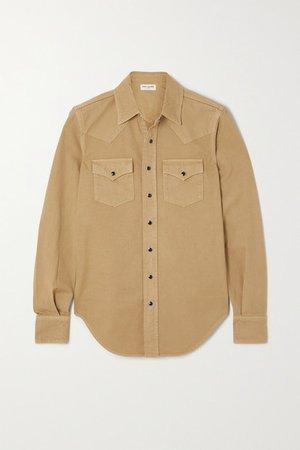 Herringbone Cotton Shirt - Beige