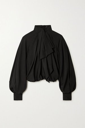 Black Pussy-bow gathered silk blouse | Balmain | NET-A-PORTER