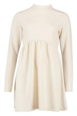 High Neck Long Sleeve Smock Sweatshirt Dress   Boohoo ecru