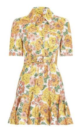 Poppy Belted Linen Mini Dress By Zimmermann   Moda Operandi