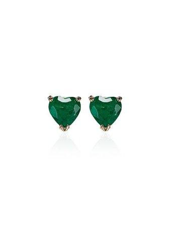 Shay 18K Gold heart-shaped Emerald Stud Earrings
