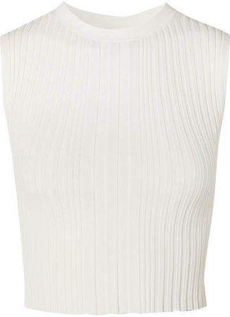 Cropped Ribbed-knit Tank - Ivory