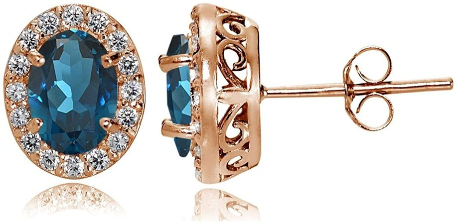 Amazon.com: Rose Gold Flashed Sterling Silver London Blue and White Topaz Oval Halo Stud Earrings: Jewelry