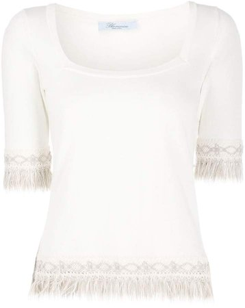 fringed knitted top